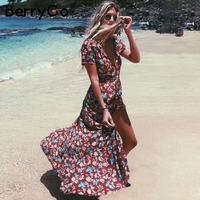 BerryGo Sash V Neck Floral Print Long Dress Women Short Sleeve Split Summer Dress Streetwear Casual