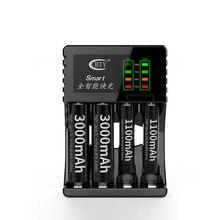 4 חריצים LED כוח תצוגת USB חכם מטען עבור AA AAA 5 או 7 מספר סוללה אינטליגנטי מהיר תשלום מהיר שחור