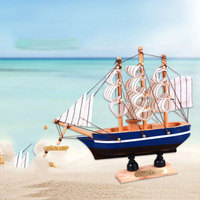 Wooden sailboat ornaments creative handmade wooden crafts home accessories Home Furnishing Ornament