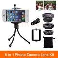 5in1 Phone Camera Lenses Kit Fisheye Fish Eye Wide Angle Macro Lentes For iPhone 6 6s 7 Plus Xiaomi Huawei + Clips Mini Tripod