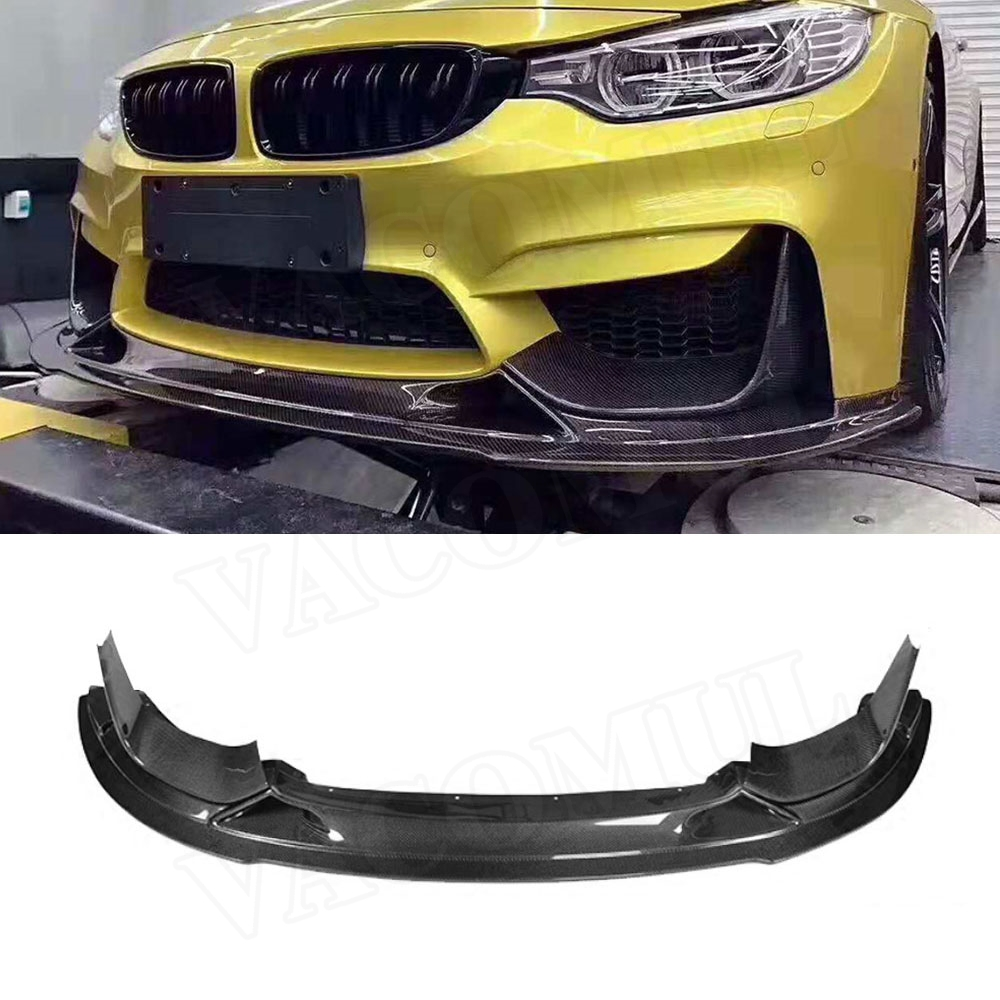 For M3 M4 Carbon Fiber Car Front Bumper Lip Spoiler with Splitters for BMW 3 4 Serises F80 M3 F82 F83 M4 2014 2017 R Style