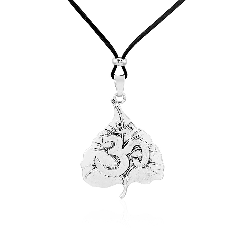 1pcs Antique Silver Large Largenlook Leaf Carved OM OHM YOGA Symbol Long Faux Suede Leather Rope Chain Necklace Jewelry