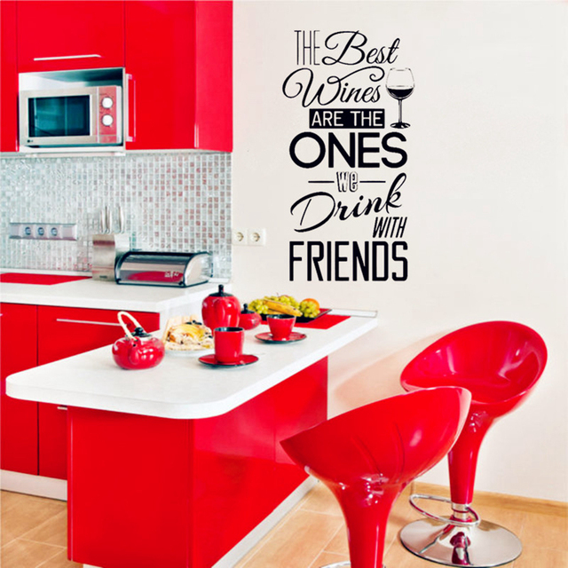 The Best Wines Are With Friends Quotes Vinyl Wall Sticker Home Dining Room