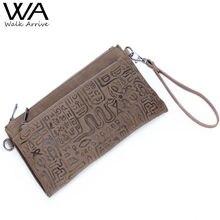 Walk Arrive Genuine Leather Women Clutch Handbag Oracle Embossed Leather Shoulder Bag Chain Bag