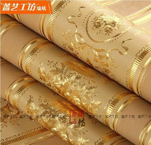 Modern 3d living room european style floral wallpaper for Gold wallpaper for home