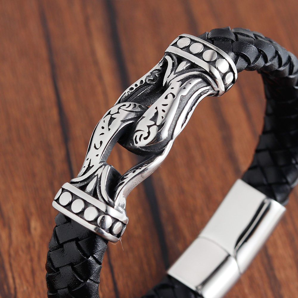 Punk Braid Leather Rope Bracelet for Men Jewelry Black Stainless Steel Clasp Wristband Fashion Bangles Personalized Gifts in Charm Bracelets from Jewelry Accessories
