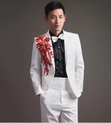 Singer Dance Stage Flower Clothing For Men Suit Set With Pants 2019 Mens Wedding Suits Costume Groom Formal Dress White Black