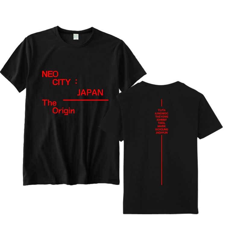 Летний стиль kpop nct 127 nct127 neo city Япония все с именами членов группы Печать О образным вырезом футболка унисекс с коротким рукавом
