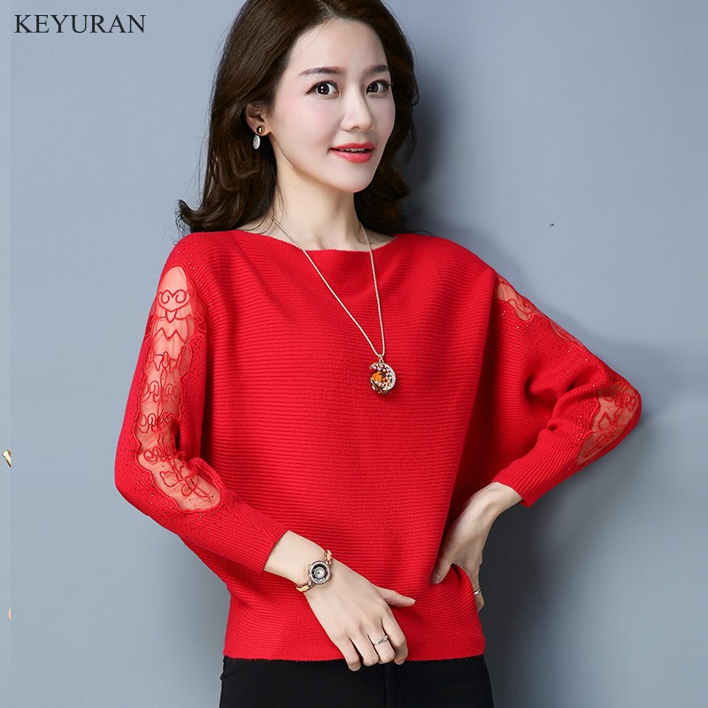 2018 Spring Autumn Sweater Women Elegant Batwing Lace Hollow Out Sleeve Sweater Pullover Design Crew Neck Loose Casual Sweater