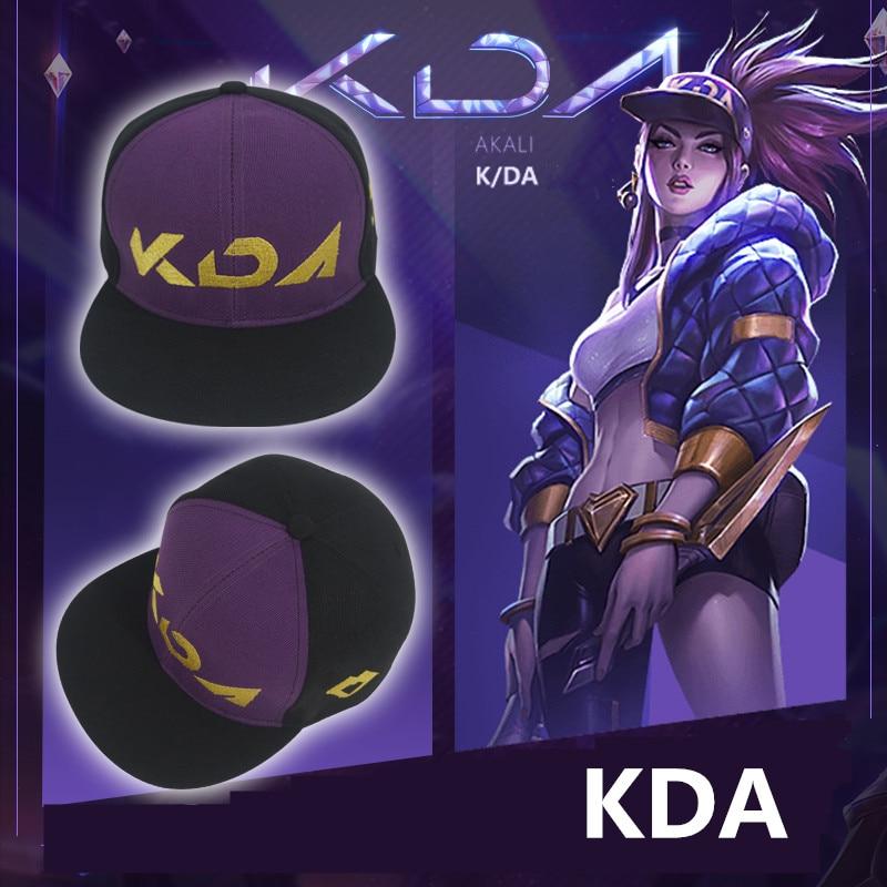 Boys Costume Accessories Game Lol Kda Akali Cosplay Props Hats Men Woman Hip Hop Cap Canvas Hand Embroidery Baseball Caps Hats Sun Demo Hat New