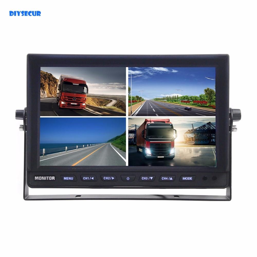 DIYSECUR DC12V 24V 10 Inch 4 Split Quad LCD Screen Display Color Video Security Monitor for Car Truck Bus CCTV Monitor