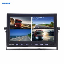 DIYSECUR DC12V-24V 10 Inch 4 Split Quad LCD Screen Display Color Video Security Monitor for Car Truck Bus CCTV Monitor
