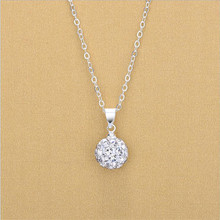TJP Hot Sale Crystal Ball Pendants Necklace For Women Jewelry Fashion Girl 925 Sterling Silver Clavicle Lady Christmas