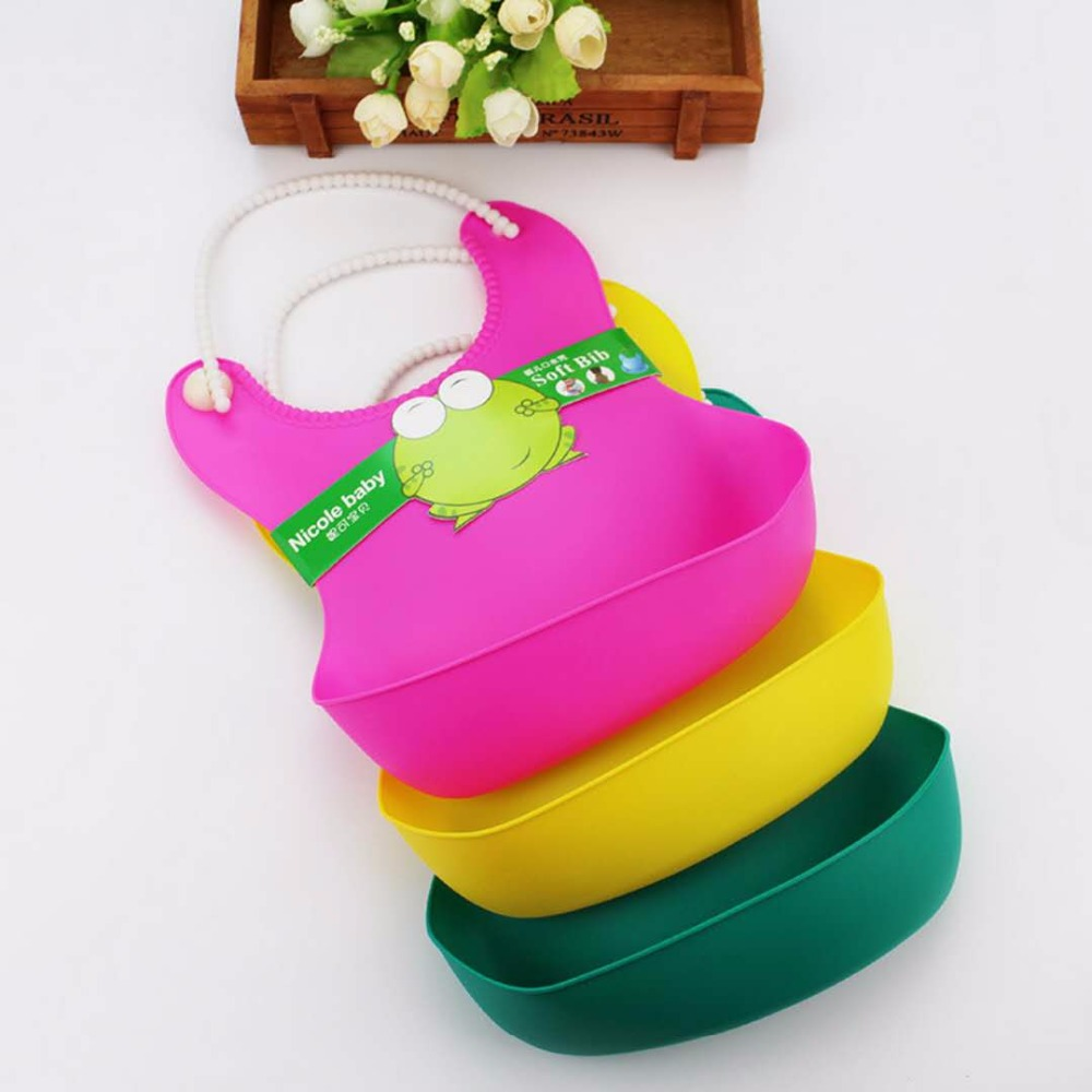 Silicone Baby Bib Waterproof Soft Plastic Toddler Bibs Newborn Candy Color Bib Baby Feeding bib(China)