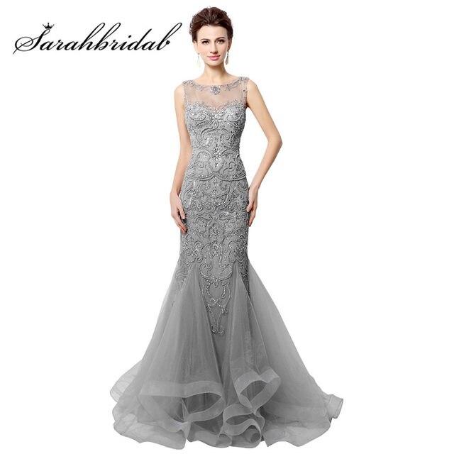 Elegante Colorete Vestidos de noche sirena larga rebordear cristales real  fotos sexy Sheer Masajeadores de cuello vestidos de fiesta de baile robe de  Soiree ... b42b3adc0187