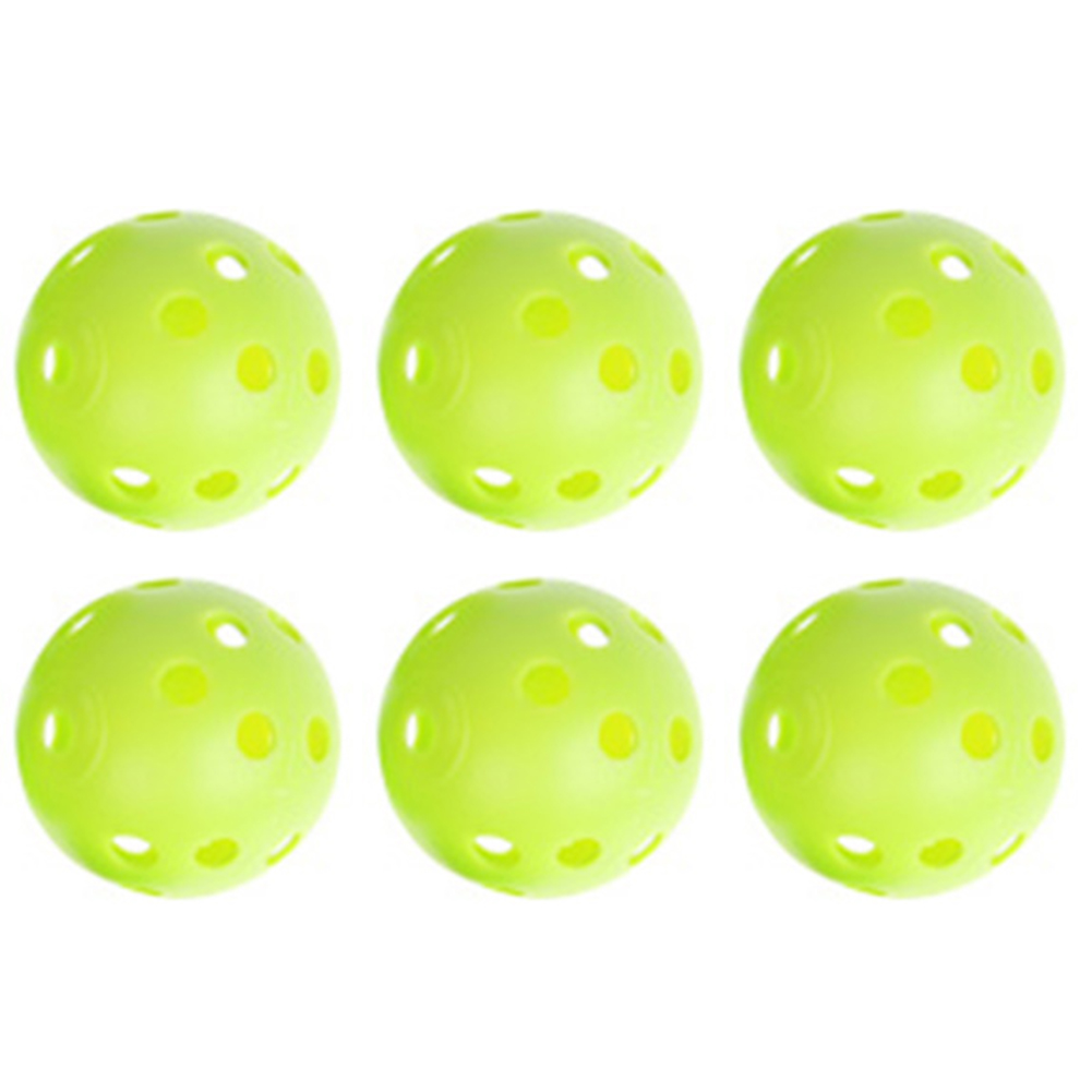6pcs Plastic Whiffle Airflow Hollow Golf Practice Green Round Training Ball Outdoor Fun & Sports Toy Balls White/Light Green