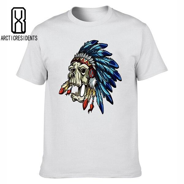 ᐅ2018 hombres camiseta moda diseño caliente cráneo indio impresión ...