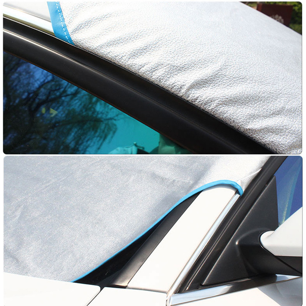 Encell Car Accessories Car Cover Silver Sun & UV Protection Half Auto Cover Rain Snow Ice Dust Waterproof Protection Cover image