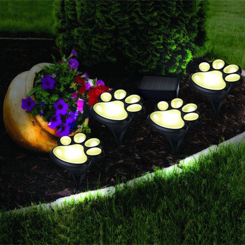 Solar Decorative Paw Print Garden Lights Solar Powered Paws Home And Garden Walkway Lighting Outdoor Decor