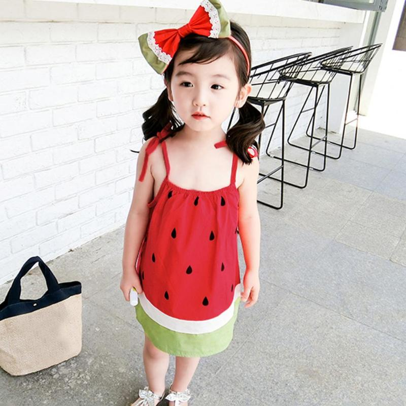 Cute Baby Girl Strap Dress Watermelon Pattern Summer Girls Kid Cotton Sundresses