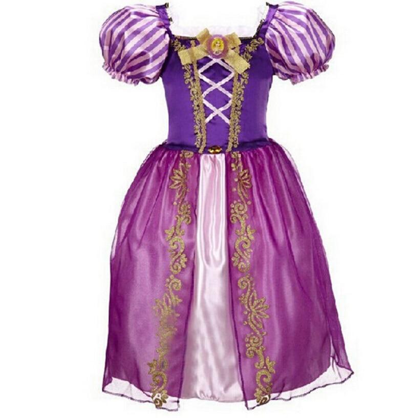 2016 Augstas kvalitātes bērnu meitenes Cinderella kleitas Bērnu karikatūra princese Kleitas Rapunzel Aurora Bērnu ballītes tērpu apģērbi 09A