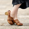 Elegant Sheepskin sandals hollow out women shoes summer thick with genuine leather sandals summer ladies shoes