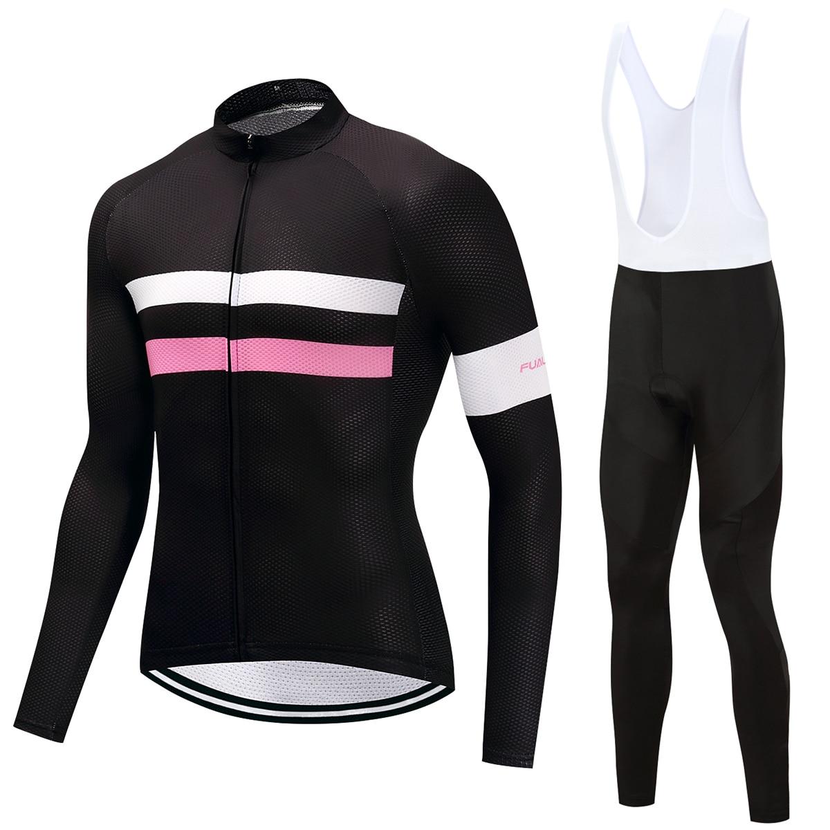 FUALRNY Men Bike Pro Team Long Sleeve Ropa Ciclismo Cycling Jersey & Bib Pants Set Riding Bicycle Sportswear Kits Colorful