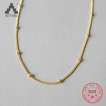 S925 sterling silver simple choker beads short clavicle necklace chain thai silver necklace hand chain s925 sterling silver men clavicle necklace authentic wholesale