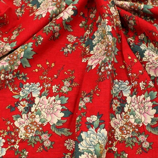 c818bfb820 DIY red Peony flower linen cotton Calico fabrics costume decoration China  wind ethnic wind wealthy DOLL clothes Peony FOR sewing