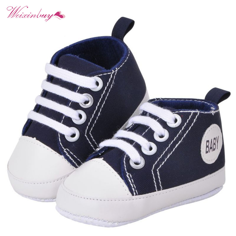 Fashion Infant Toddler Canvas Crib Shoes Baby Boys Girls Sneaker Prewalker Brand Baby Shoes 0-18M