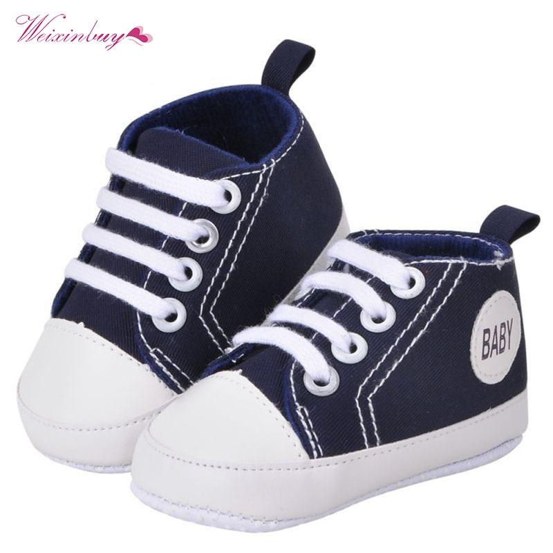 Fashion Infant Toddler Canvas Crib Shoes Baby Boys Girls Sneaker Prewalker Brand Baby Shoes 0-18M