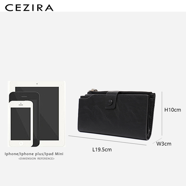 CEZIRA Large Capacity Women Big Wallet Female Cards Holder Multi Function Long Wallet Coin Pocket PU Leather Lady Clutch Purse 5