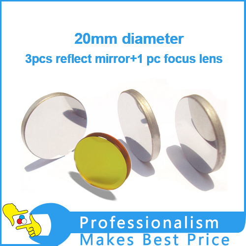 3pcs 20mmx3mm MO laser reflect mirror +1pc 20mmx50.8mm CO2 laser focus lens for laser engraving machine combined beam mirror co2 laser machine diamete 20mm thickness 1 5mm 45 degreee reflect mirror
