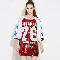 2019 Fashion Number Sequins Loose Women Long T Shirts Half Sleeve Women Punk Style T Shirts Vestidos Tops for Women Tees
