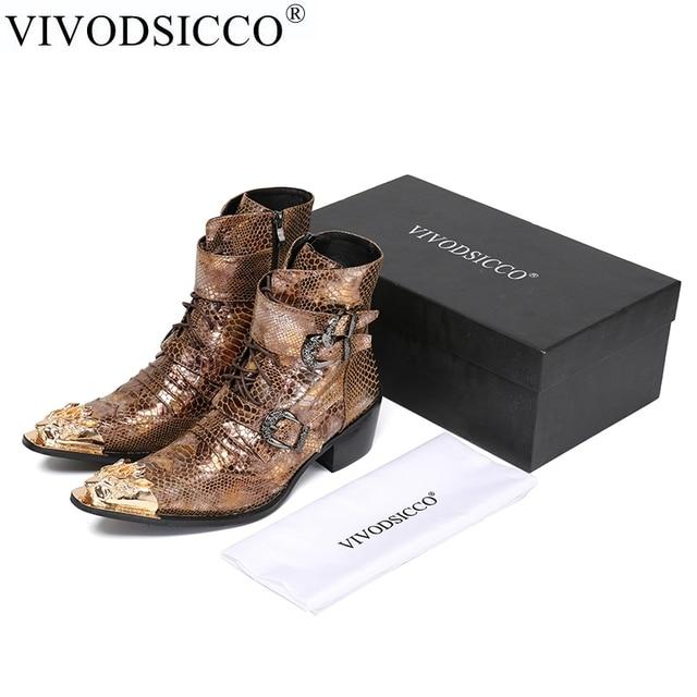 VIVODSICCO Lüks İngiliz Tarzı Erkekler Orta Buzağı Çizmeler Hakiki Deri Motosiklet Kovboy Çizmeleri Erkekler Yılan Derisi Çizmeler Elbise Ayakkabı