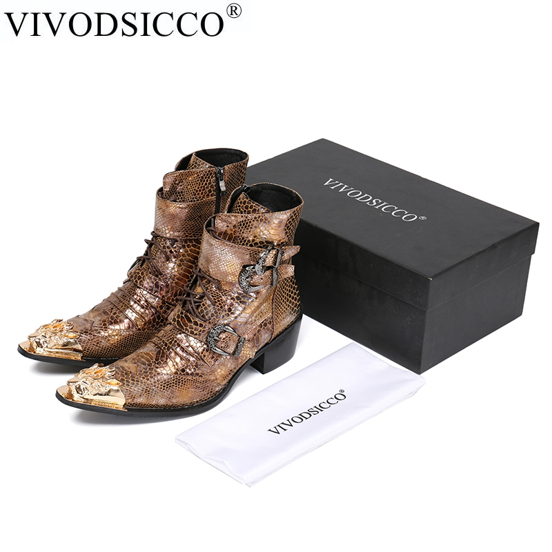 VIVODSICCO Luxury British Style Men Mid Calf Boots Genuine Leather Motorcycle Cowboy Boots Men Snake Skin Boots Dress Shoes british style splicing and buckle design mid calf boots for men
