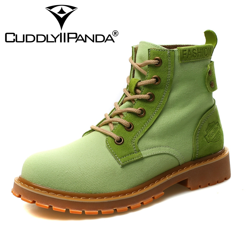 CUDDLYIIPANDA Women Ankle Boots Autumn Fashion Women Shoes Genuine Leather Winter Boots for Girls Green Martin Boots Botas Mujer vtota boots women fashion autumn martin boots warm women shoes ankle boots for women winter botas mujer wedges ankle boots d23
