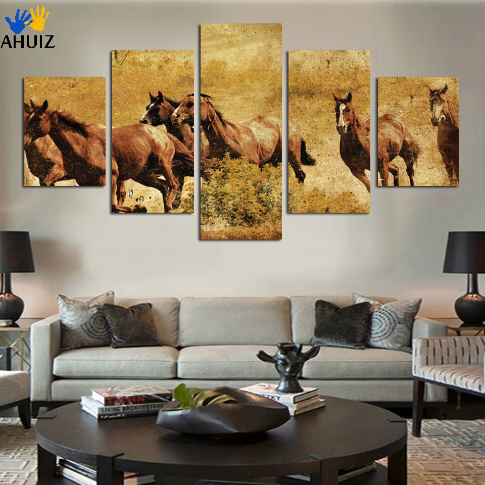 5 Ppcs Horse Painting Canvas Wall Art Picture Home Decoration Rhaliexpress: Horse Paintings For Living Room At Home Improvement Advice