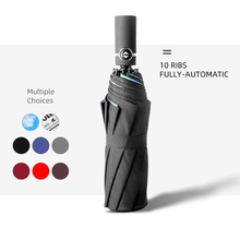 10 Ribs Fully Automatic Windproof Umbrella Rain Women Double Layer Cloth Reinforced 3 Folding Men Outdoor Solid Color