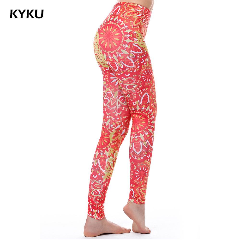 Aztec Round Ombre Leggings Kvinnor Sexy Push Up Leggings Mandala Blommor 3D Pink Legging High Waist Leggins Women Fitness Fashion