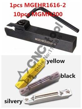 11 uds/conjunto de herramienta de torno de CNC s MGEHR1616-2 1 Uds + 10 Uds MGMN200 de plata/amarillo/Negro Azul/Negro ranurado herramienta de torno de CNC portaherramientas de torno
