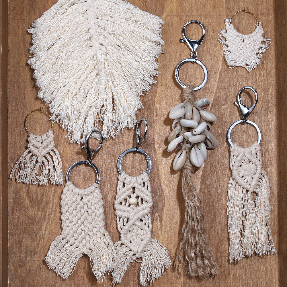 MacrameTassel Keychains For Women Handmade Boho Key Holder Keyring Macrame Bag Charm Car Hanging Jewelry Gift Free Shipping