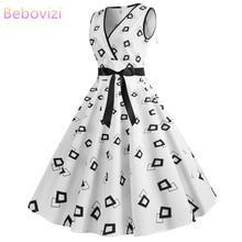 Bebovizi 2019 Summer Fashion New Women Vintage Plus Size Bandage Dress Casual Office Elegant Irregular Shape Print White Dresses