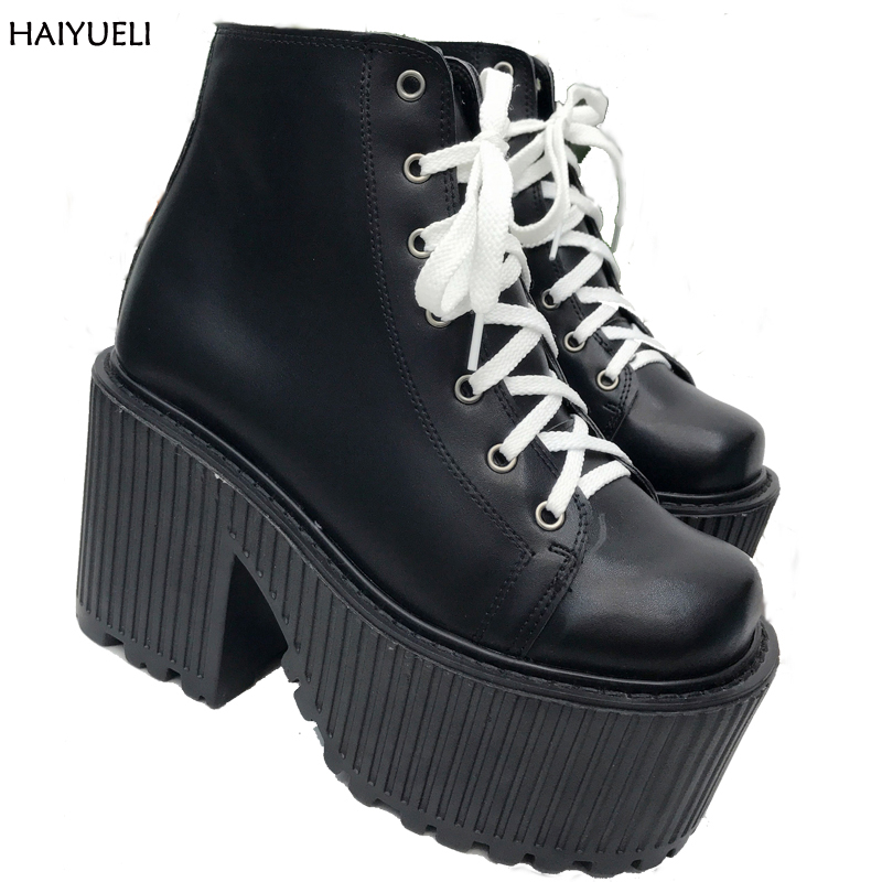 Fashion Motorcycle Boots Punk Platform Ankle Boots Fall Woman Lace Up High Heel Boots Black Rock Martin Boots Bottes Femmes bottes femmes 2017 autumn fashion martin boots leather shoes woman platform square medium heel ankle boots for women plus size