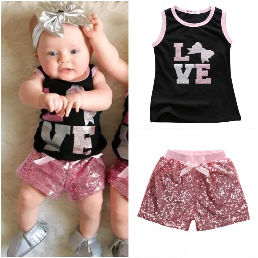 2016 New Toddler Kids Baby Girls Summer Clothes set Girls Tops T-shirt Sequins Shorts Outfits 2Pcs Set 1-6Y