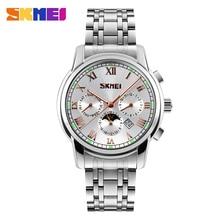 SKMEI 9121 Hombres de Marca de Moda Reloj de Acero Inoxidable de Negocios Relojes Relogio Masculino masculino Reloj de Cuarzo Resistente Al Agua Relojes de Pulsera