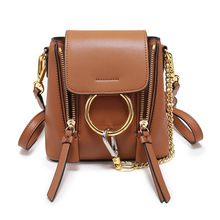 P231 New Fashion Chain Ring Decorative leather Shoulder bag Women Genuine Leather backpack