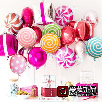 5pcs/lot colorful candy foil balloons <font><b>18</b></font> inch round lollipop aluminum balls wedding birthday baby party decoration image