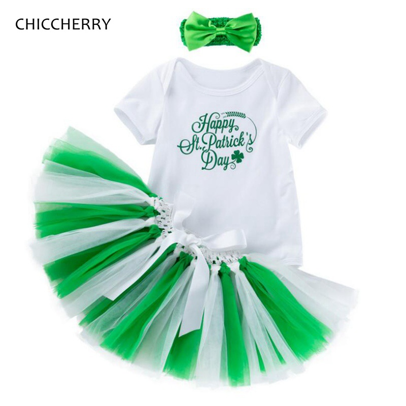 2982568b254f0 Happy St Patricks Day Outfit Bodysuit Lace Tutu Skirts Headband Baby Girl  Clothes Vetement Bebe Fille
