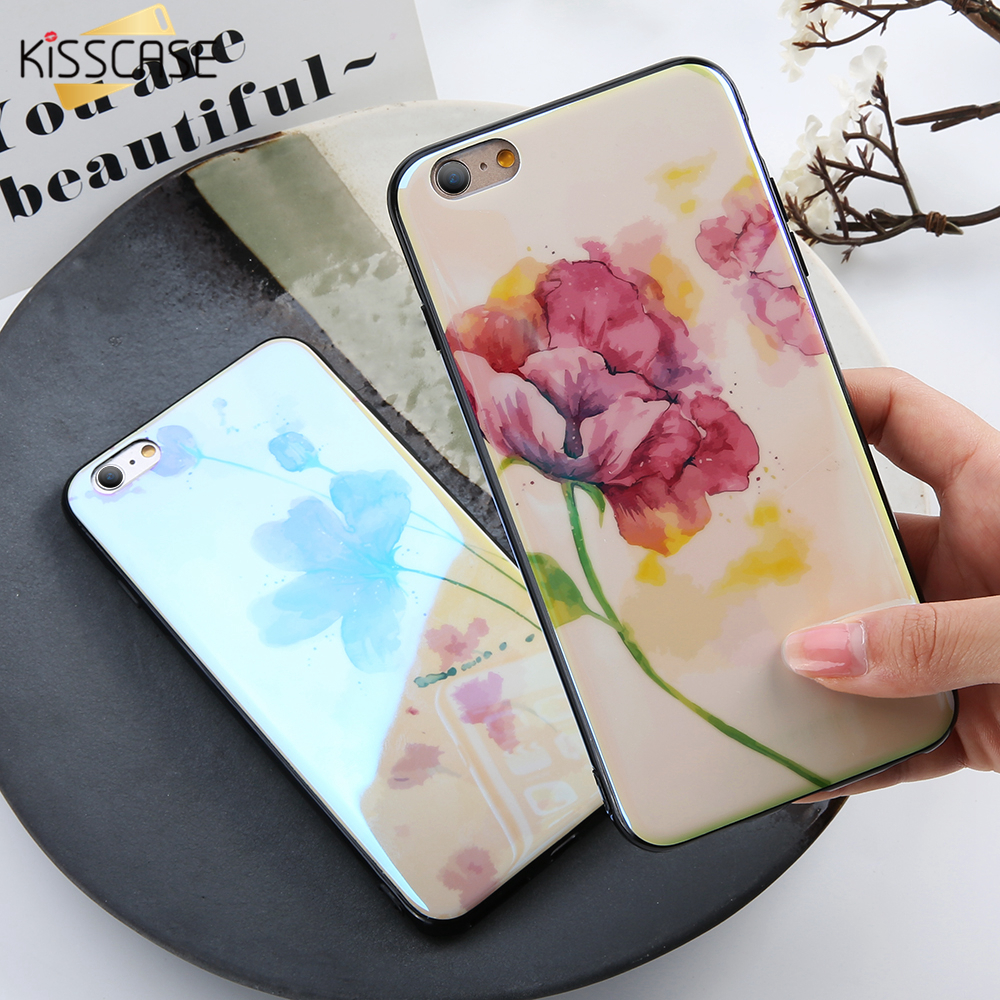 KISSCASE Cute Flower Case For iPhone 6 6s Plus Case Soft TPU Aurora Blue Ray Glossy Phone Case For iPhone 7 7 Plus 8 8 Plus X